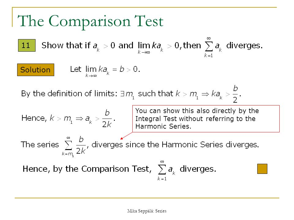 The Comparison Test 11 Solution
