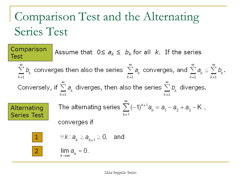 Comparison Test and the Alternating Series Test