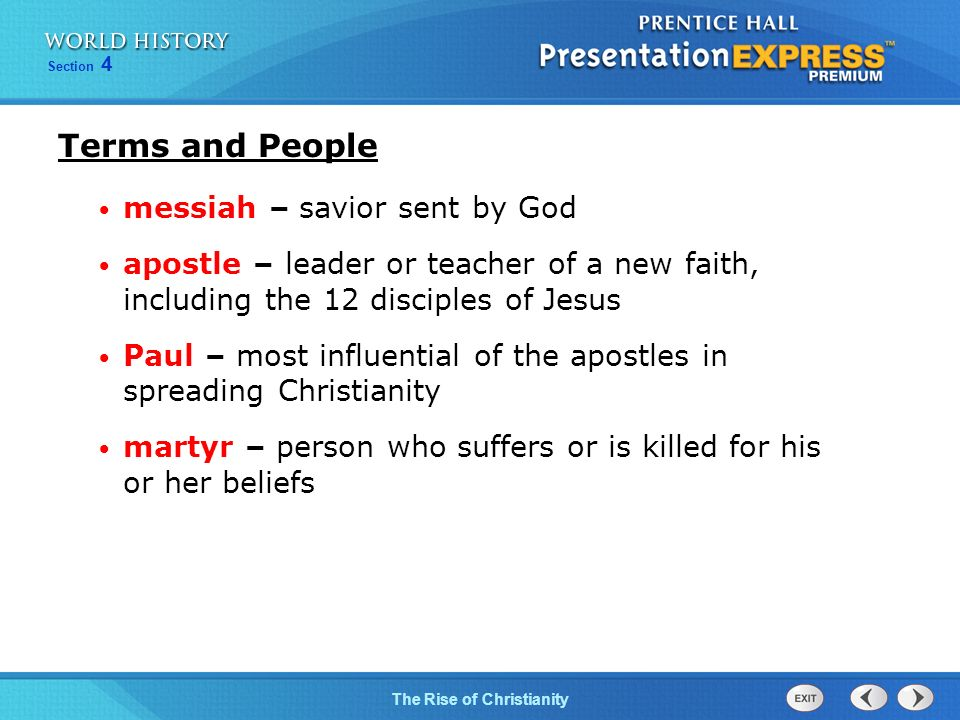 Terms and People messiah – savior sent by God