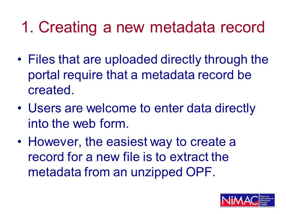 1. Creating a new metadata record