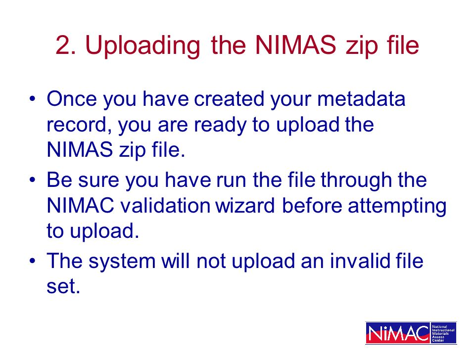 2. Uploading the NIMAS zip file