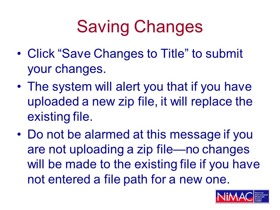 Saving Changes Click Save Changes to Title to submit your changes.