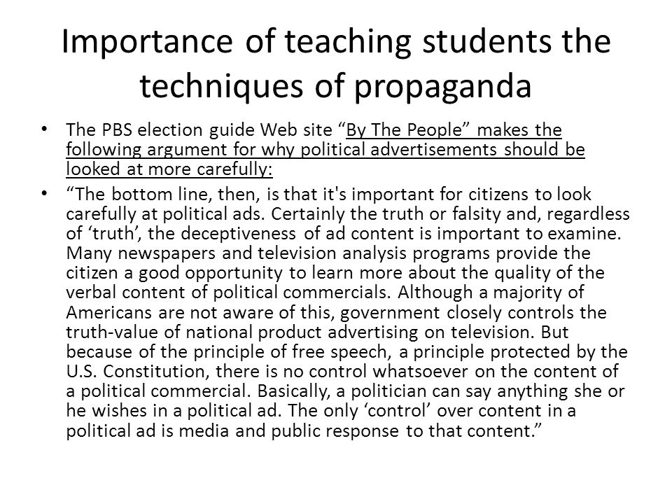 Importance of teaching students the techniques of propaganda