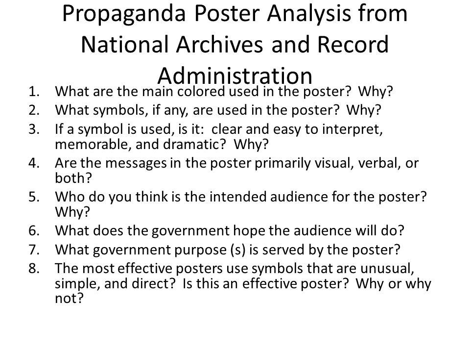 Propaganda Poster Analysis from National Archives and Record Administration