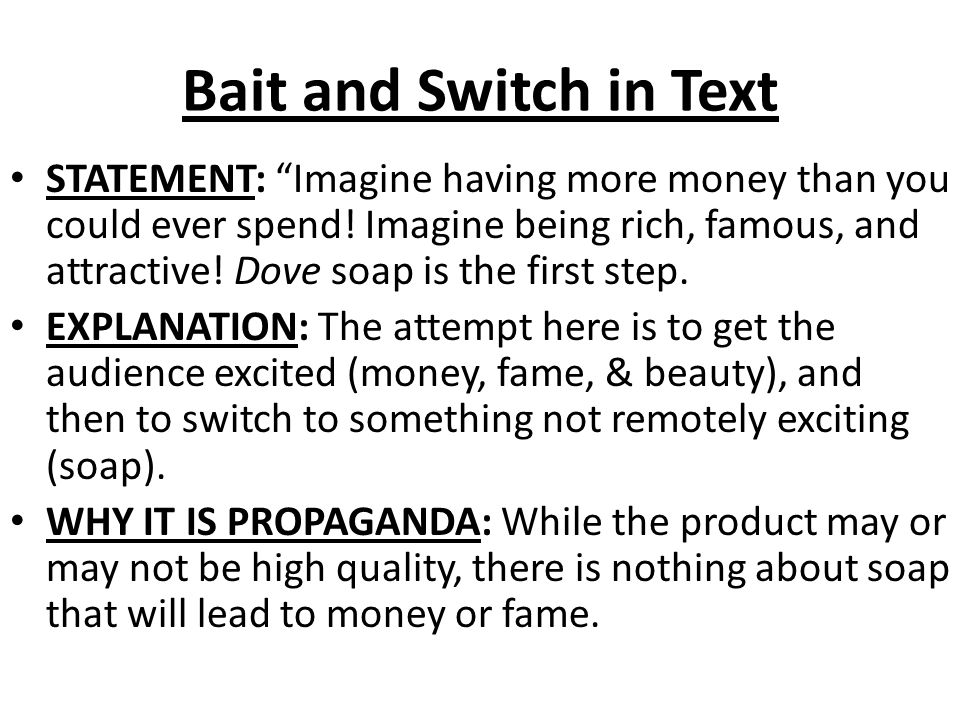 Bait and Switch in Text