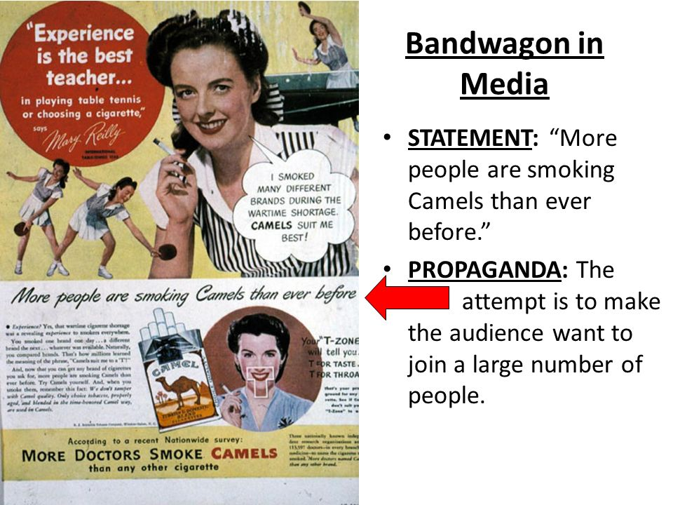 Bandwagon in Media STATEMENT: More people are smoking Camels than ever before.
