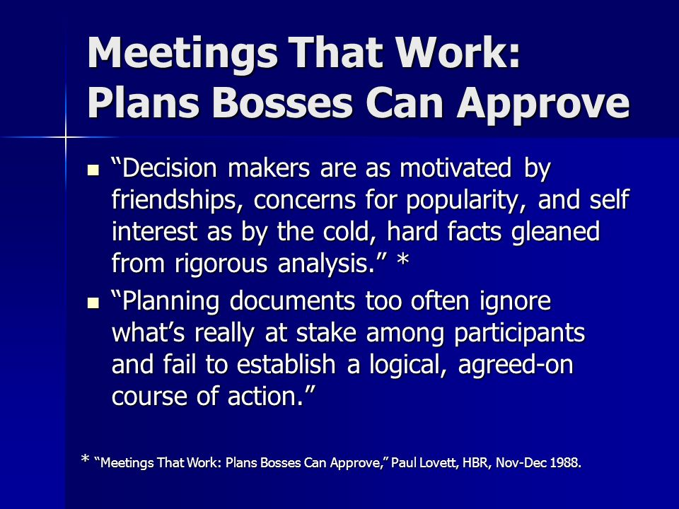 Meetings That Work: Plans Bosses Can Approve
