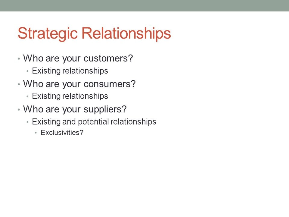 Strategic Relationships