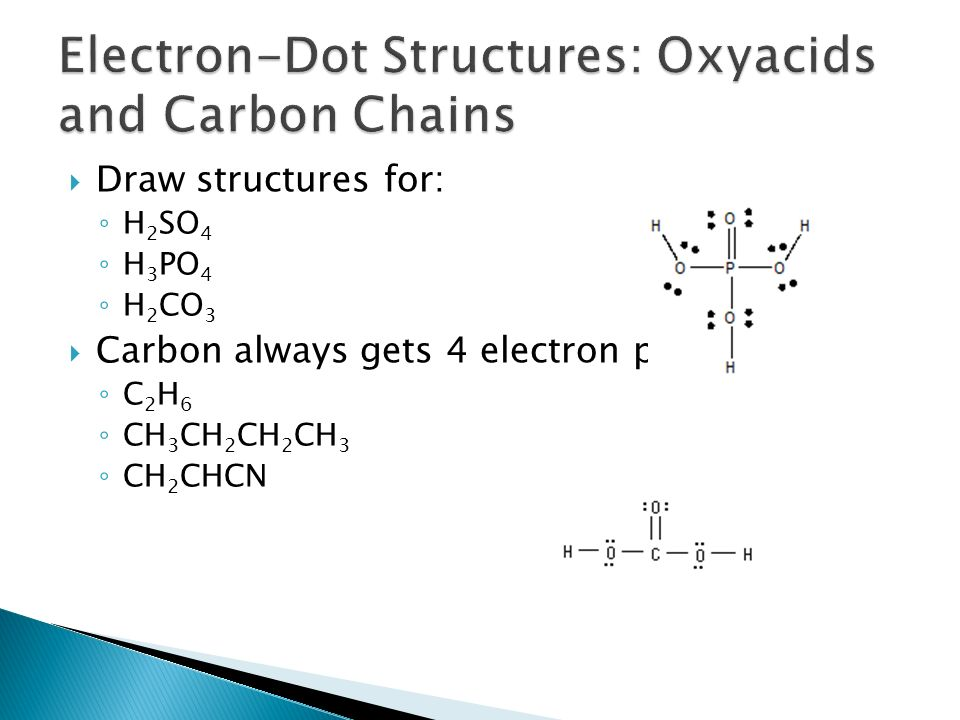 electron-dot structures: oxyacids and carbon chains