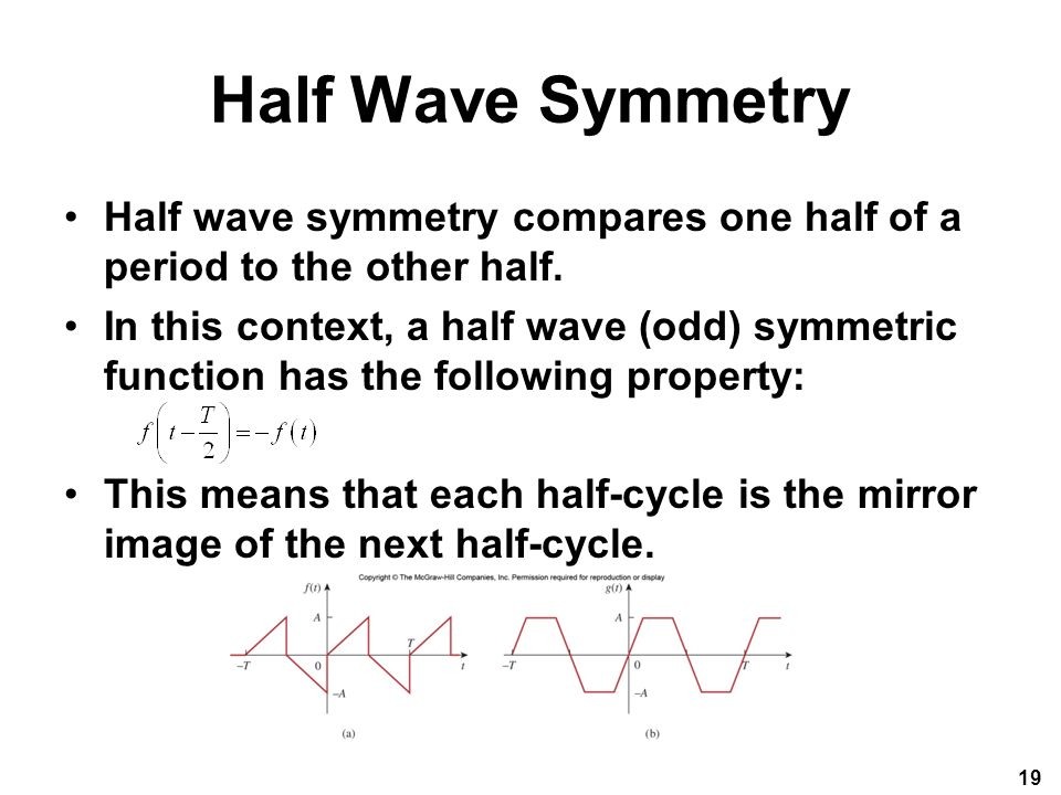 Half Wave Symmetry Half wave symmetry compares one half of a period to the other half.