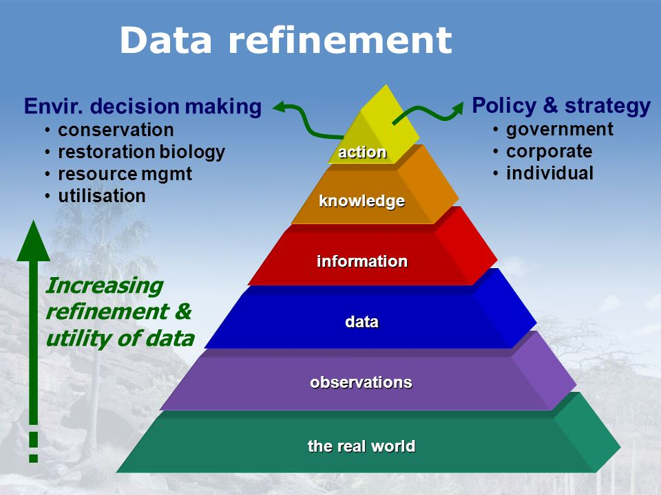 Data refinement Envir. decision making Policy & strategy