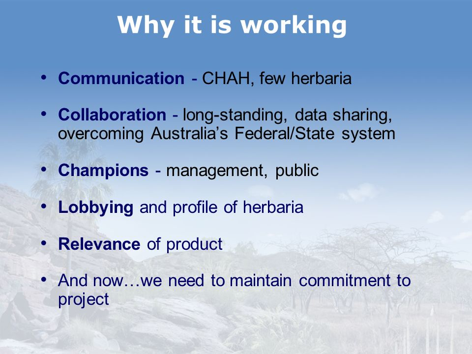 Why it is working Communication - CHAH, few herbaria