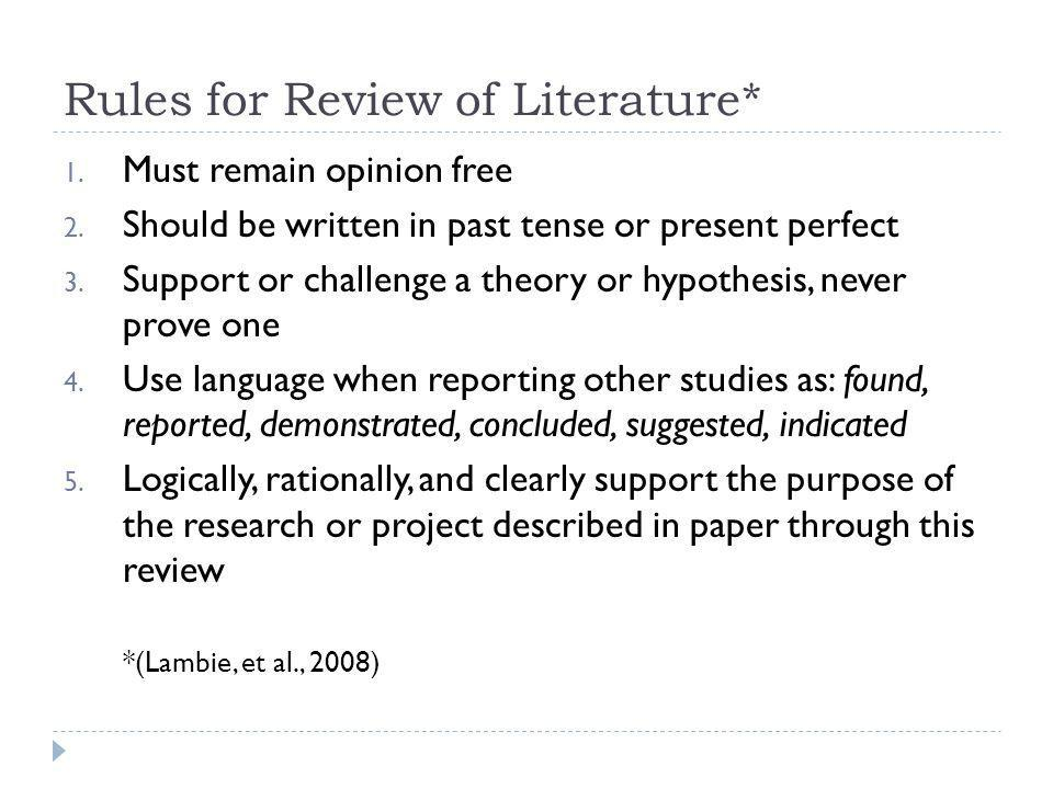 Rules for Review of Literature*