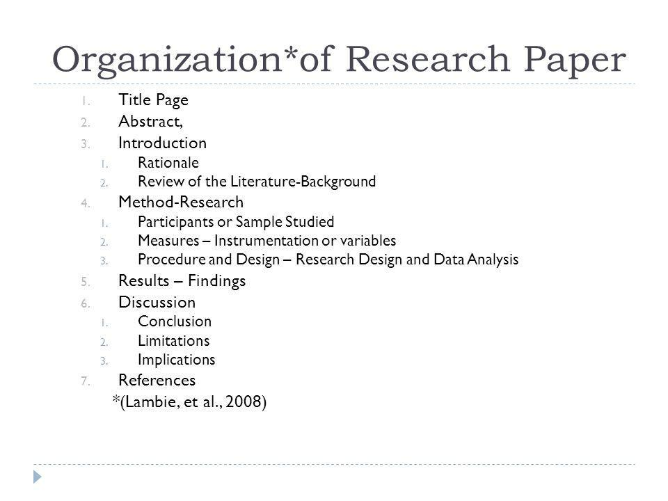 Organization*of Research Paper