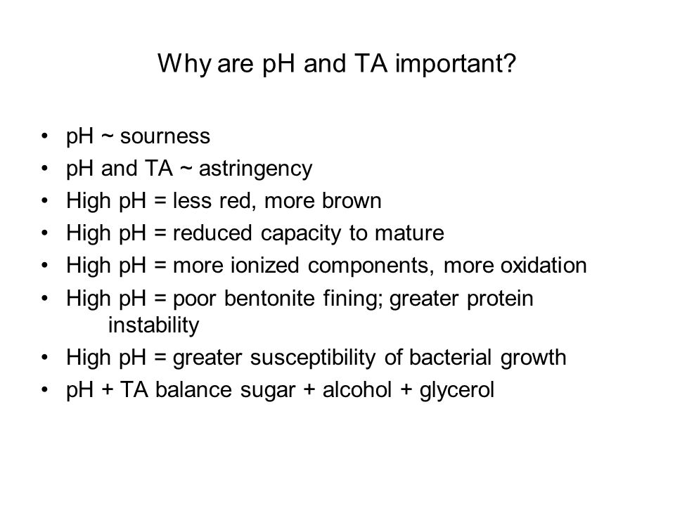 Why are pH and TA important