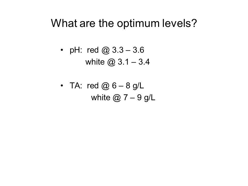 What are the optimum levels
