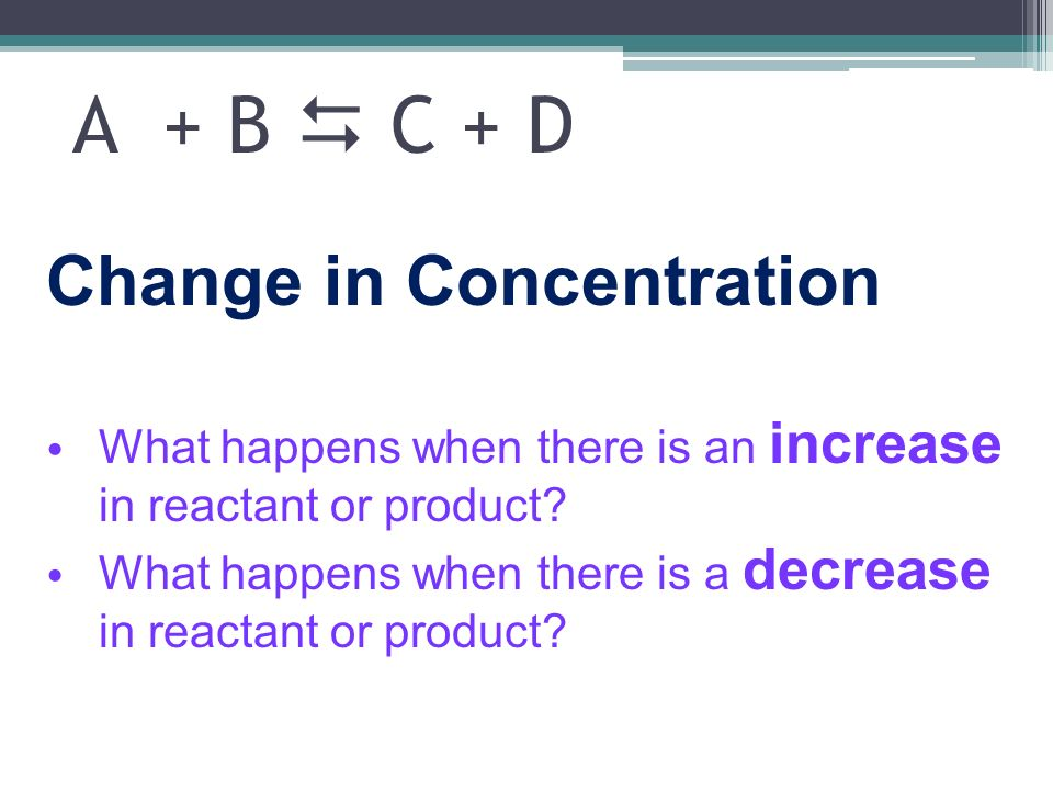 A + B  C + D Change in Concentration