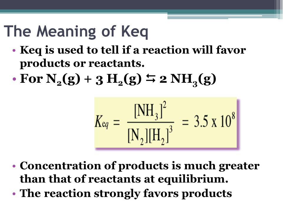 The Meaning of Keq For N2(g) + 3 H2(g)  2 NH3(g)