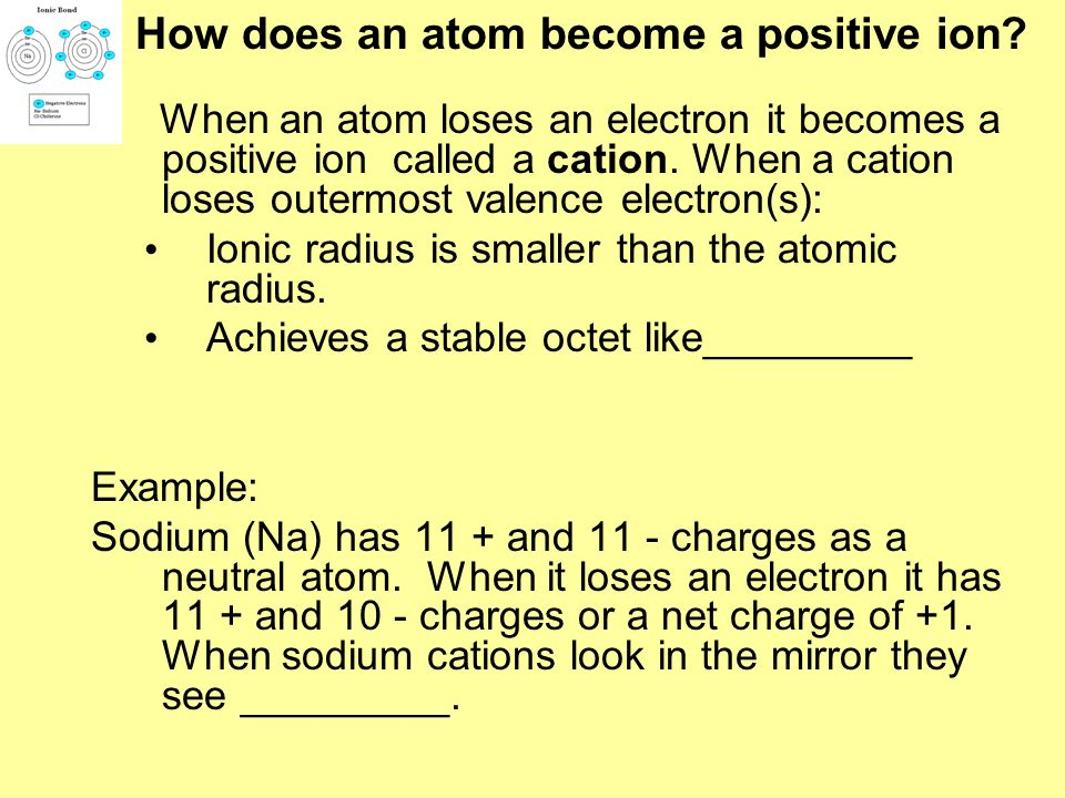 How does an atom become a positive ion