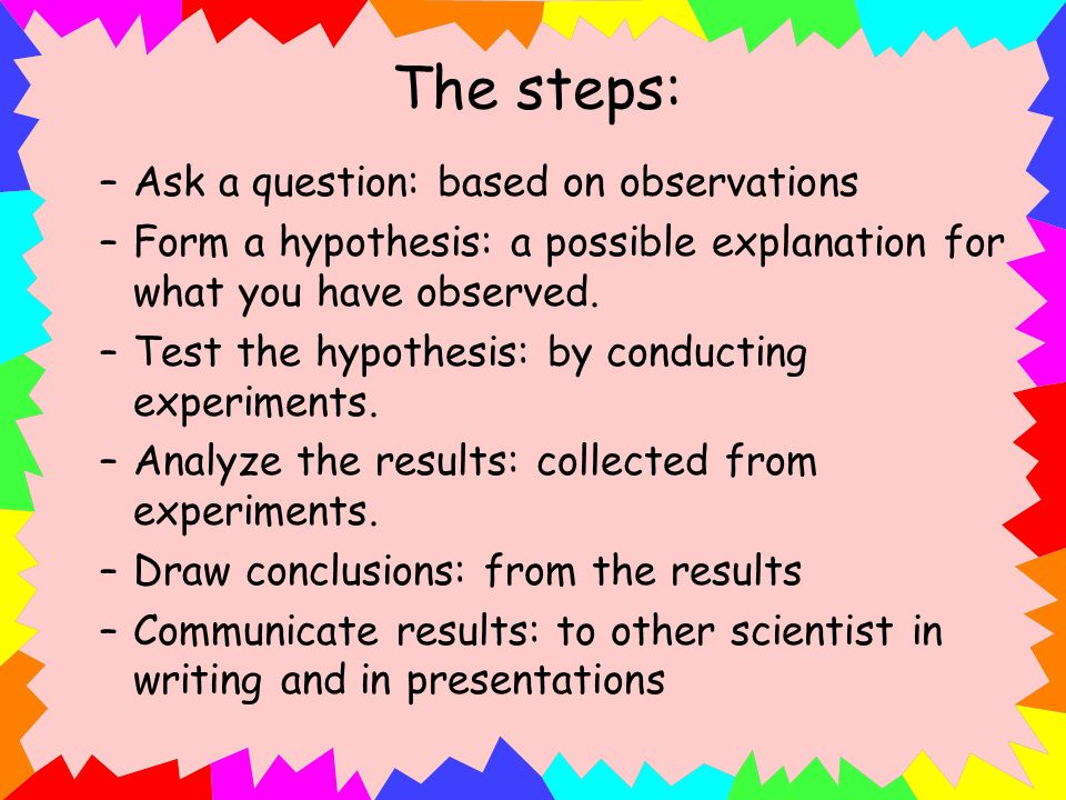 The steps: Ask a question: based on observations