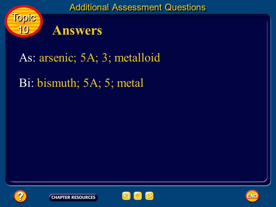 Answers As: arsenic; 5A; 3; metalloid Bi: bismuth; 5A; 5; metal Topic