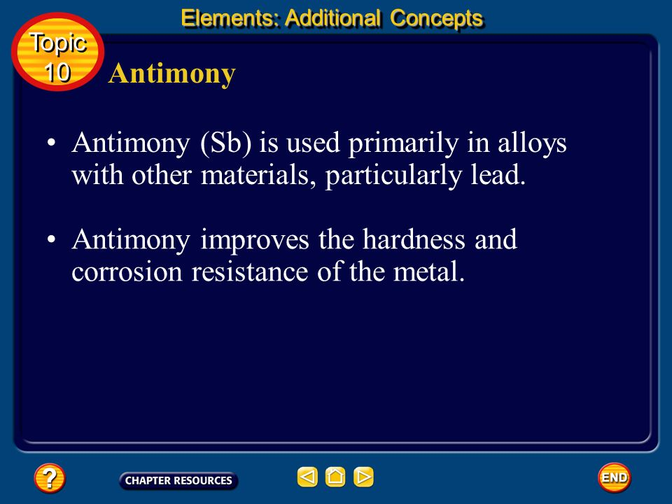 Antimony improves the hardness and corrosion resistance of the metal.