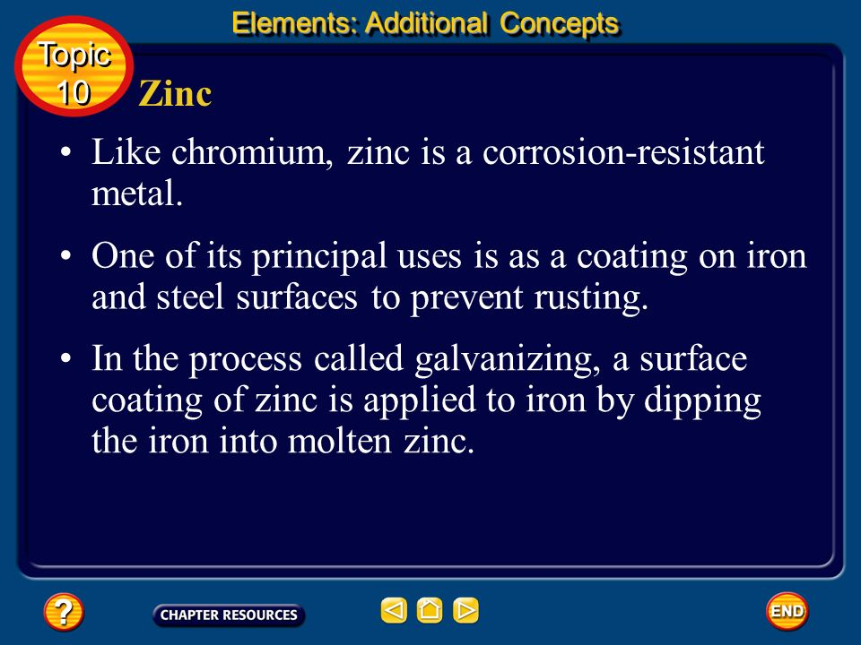 Like chromium, zinc is a corrosion-resistant metal.