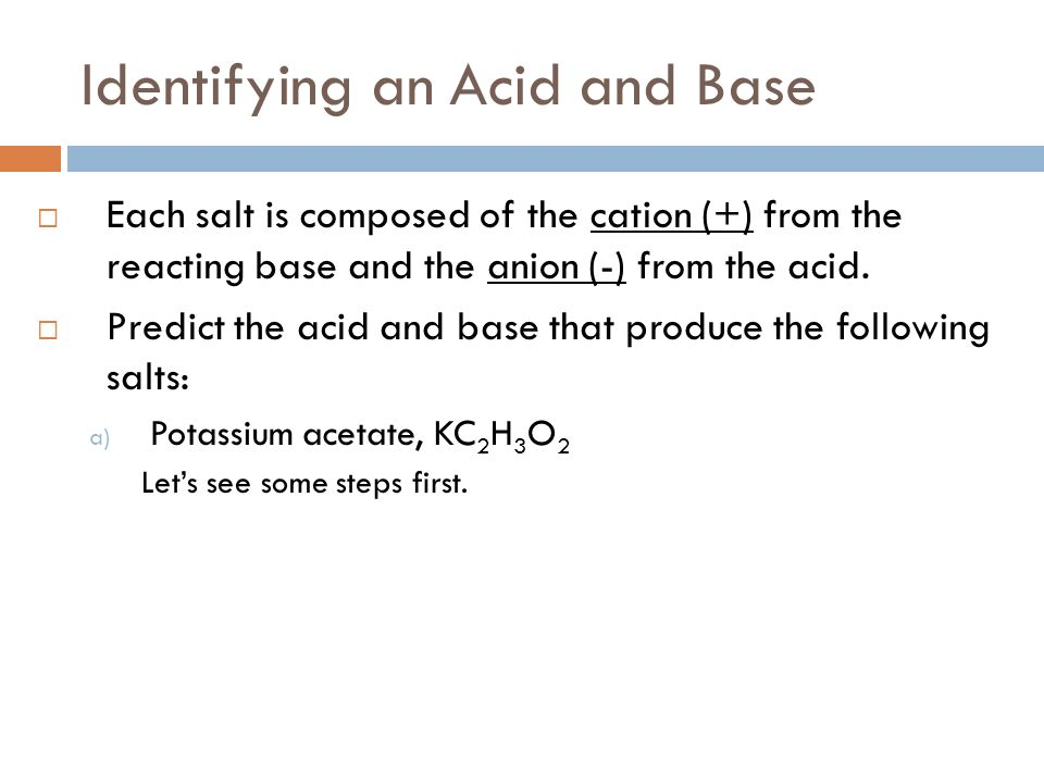 Identifying an Acid and Base