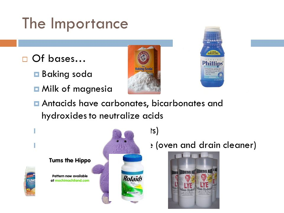 The Importance Of bases… Baking soda Milk of magnesia