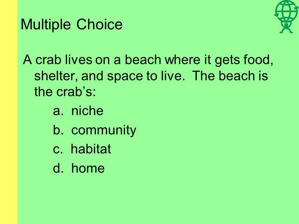 Multiple Choice A crab lives on a beach where it gets food, shelter, and space to live. The beach is the crab's: