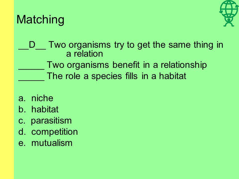 Matching __D__ Two organisms try to get the same thing in a relation