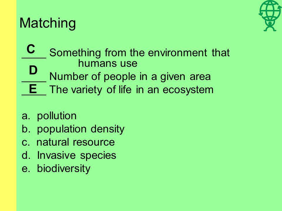 Matching C D E ____ Something from the environment that humans use