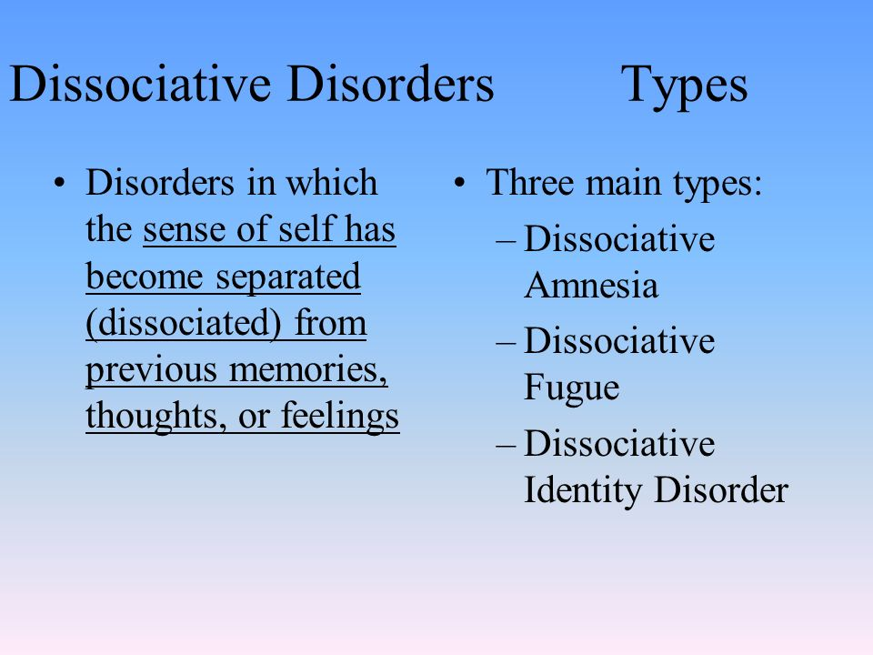 Dissociative disorders. A category of psychological disorders in.