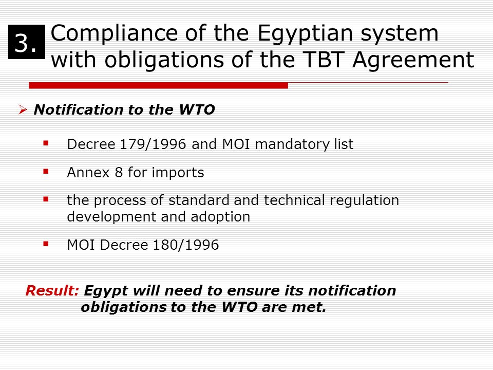Assessment Of Egypts Compliance With The Wto Agreement On Technical