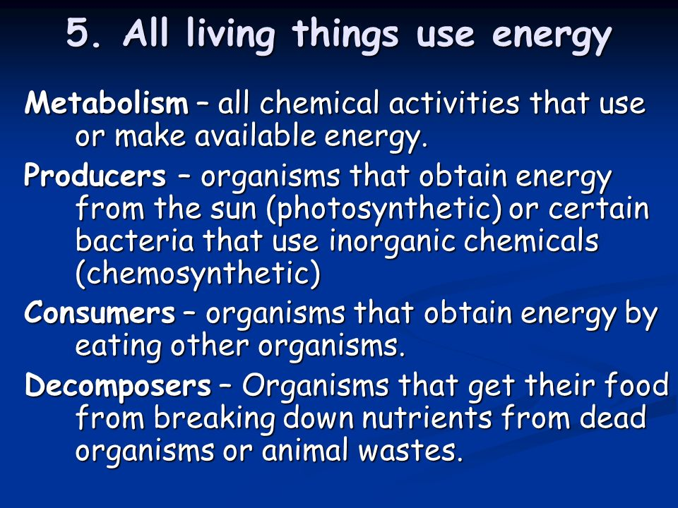 5. All living things use energy