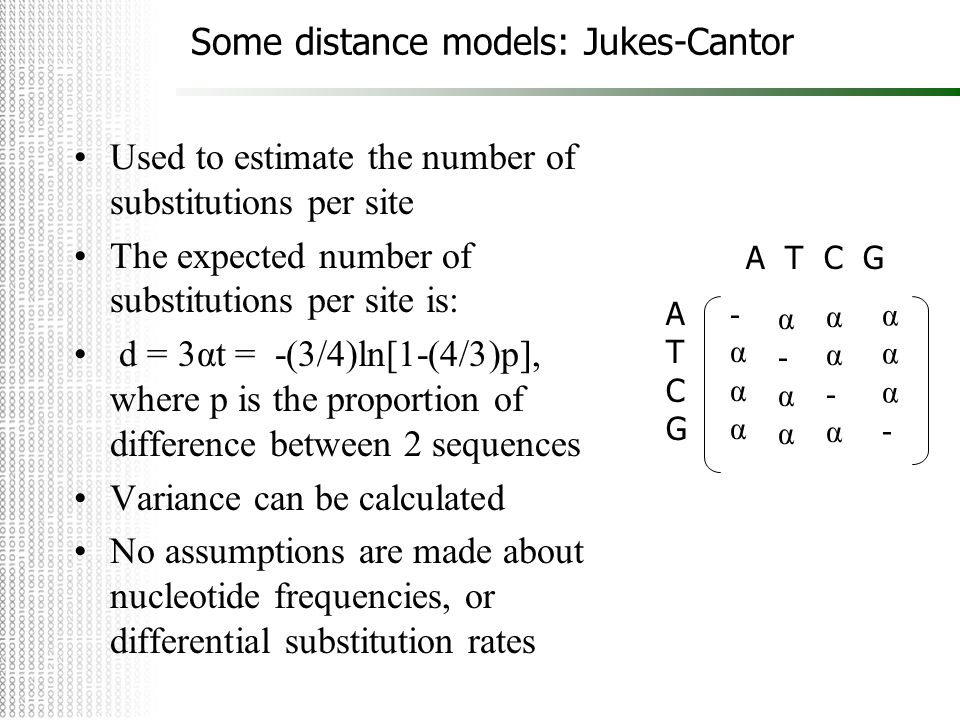 Some distance models: Jukes-Cantor