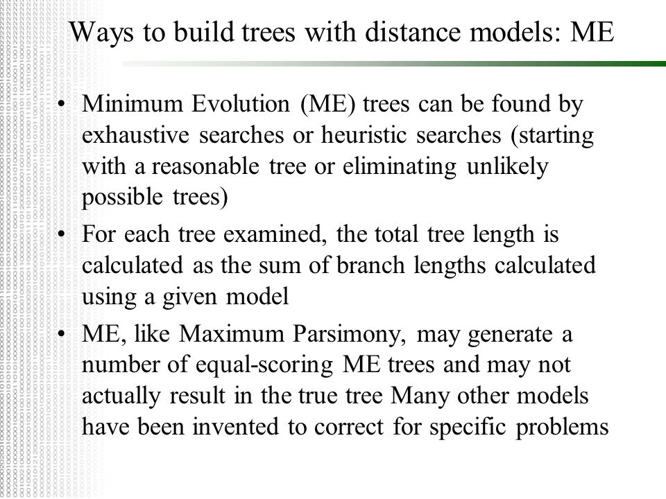 Ways to build trees with distance models: ME