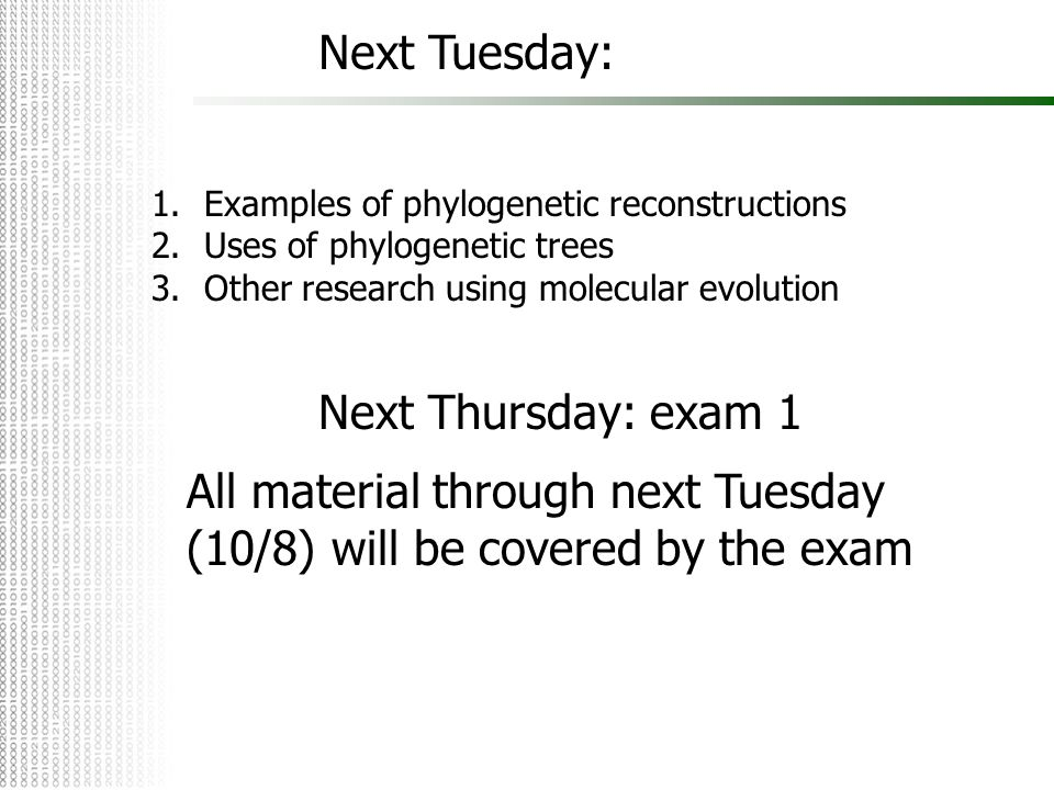 All material through next Tuesday (10/8) will be covered by the exam
