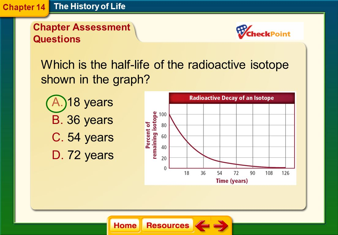 Which is the half-life of the radioactive isotope shown in the graph