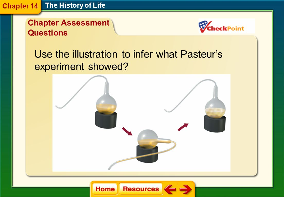 Use the illustration to infer what Pasteur's experiment showed