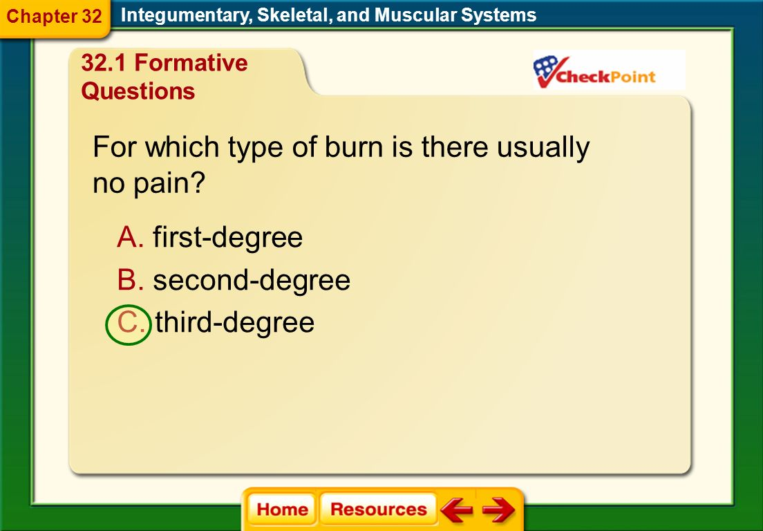For which type of burn is there usually no pain