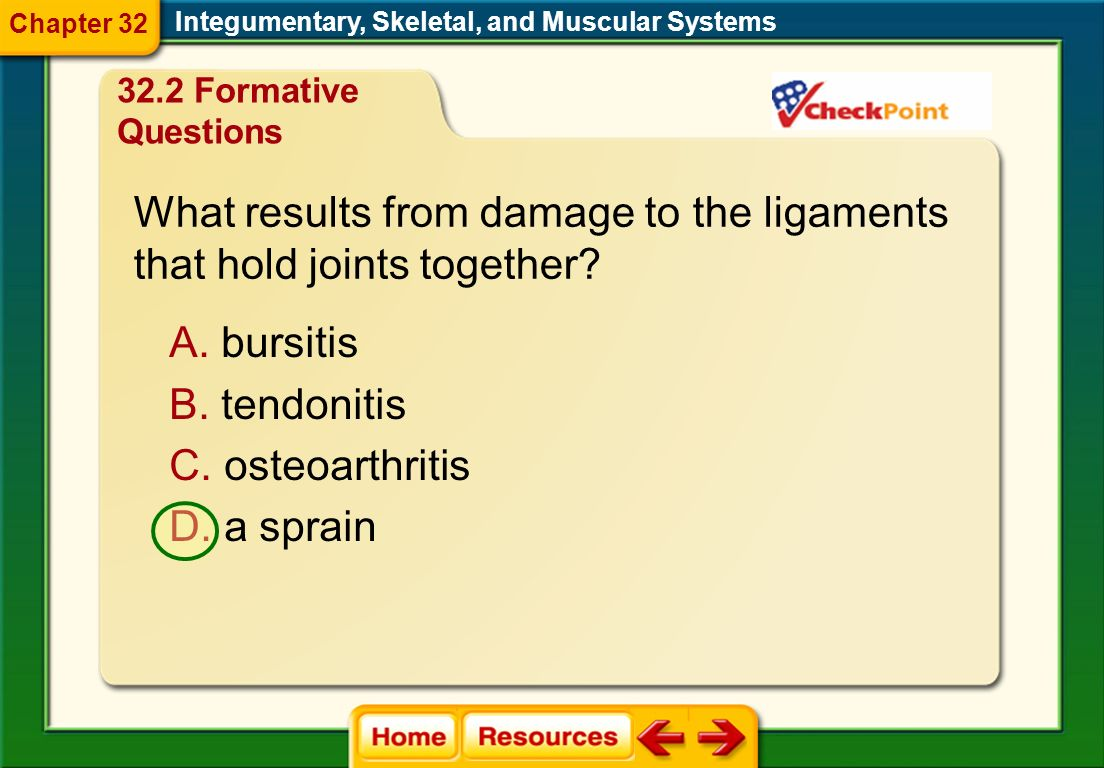 What results from damage to the ligaments that hold joints together