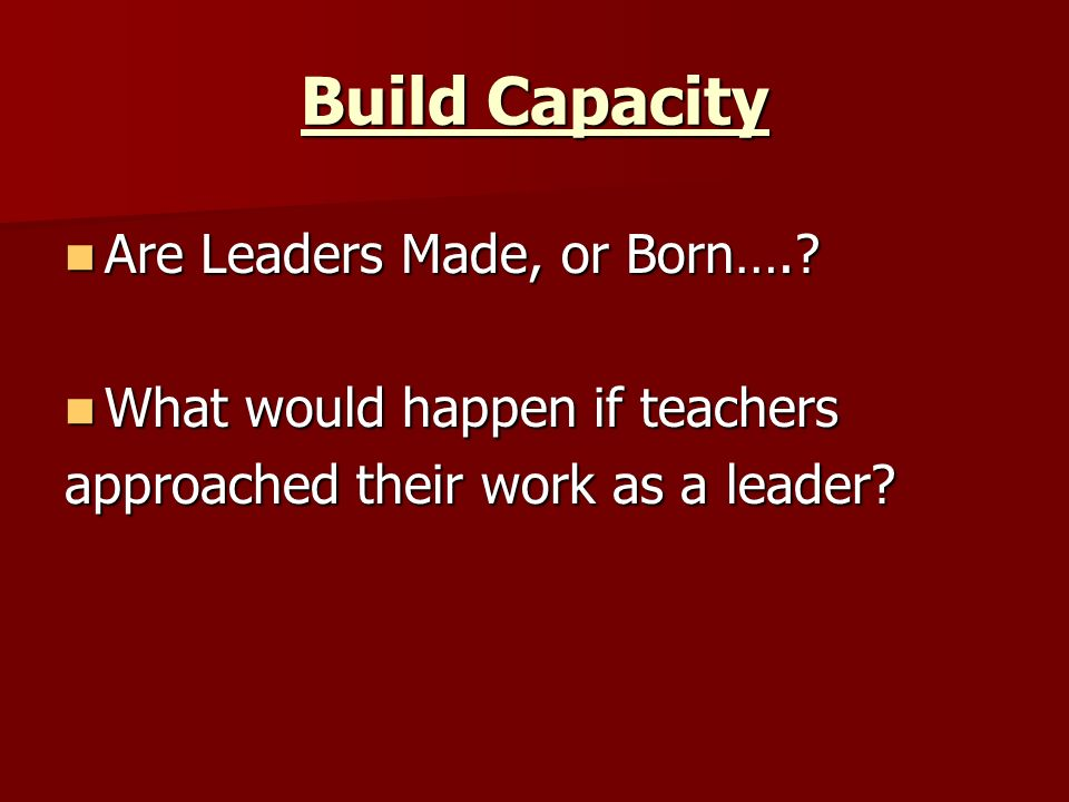 Build Capacity Are Leaders Made, or Born….