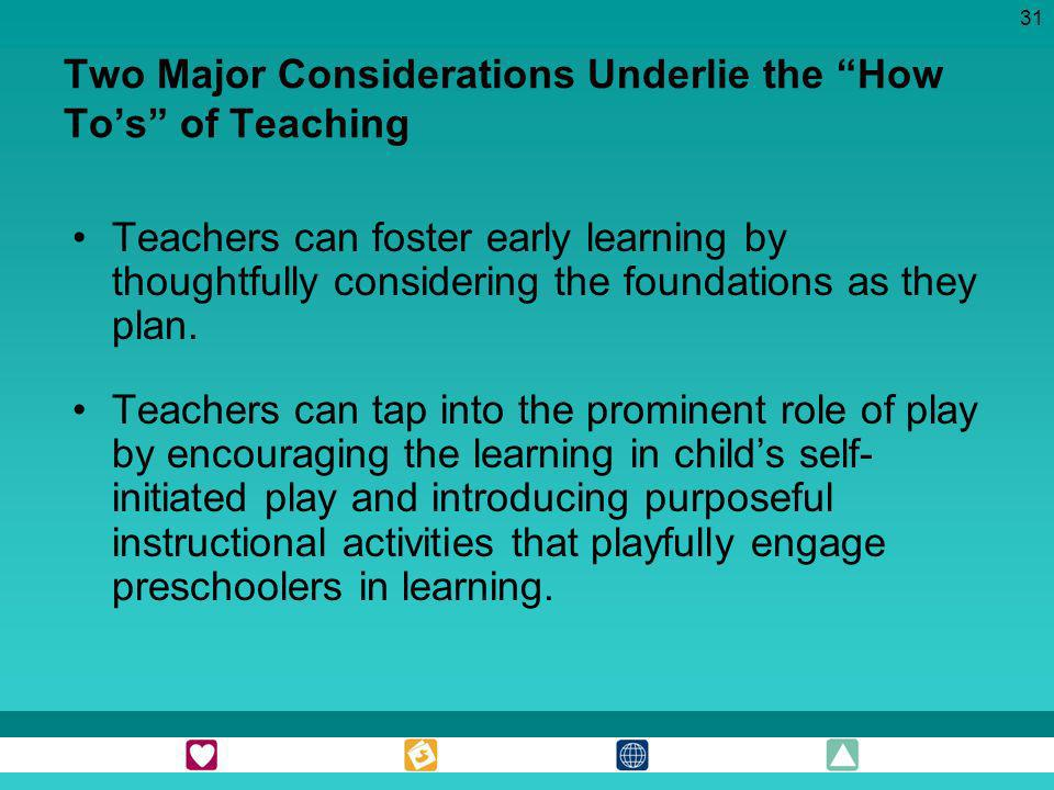 Two Major Considerations Underlie the How To's of Teaching
