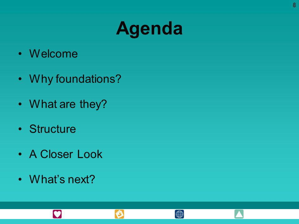 Agenda Welcome Why foundations What are they Structure A Closer Look