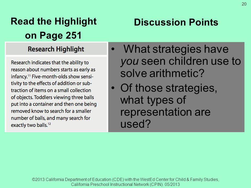 Research Highlight Read the Highlight. on Page 251. Discussion Points. What strategies have you seen children use to solve arithmetic