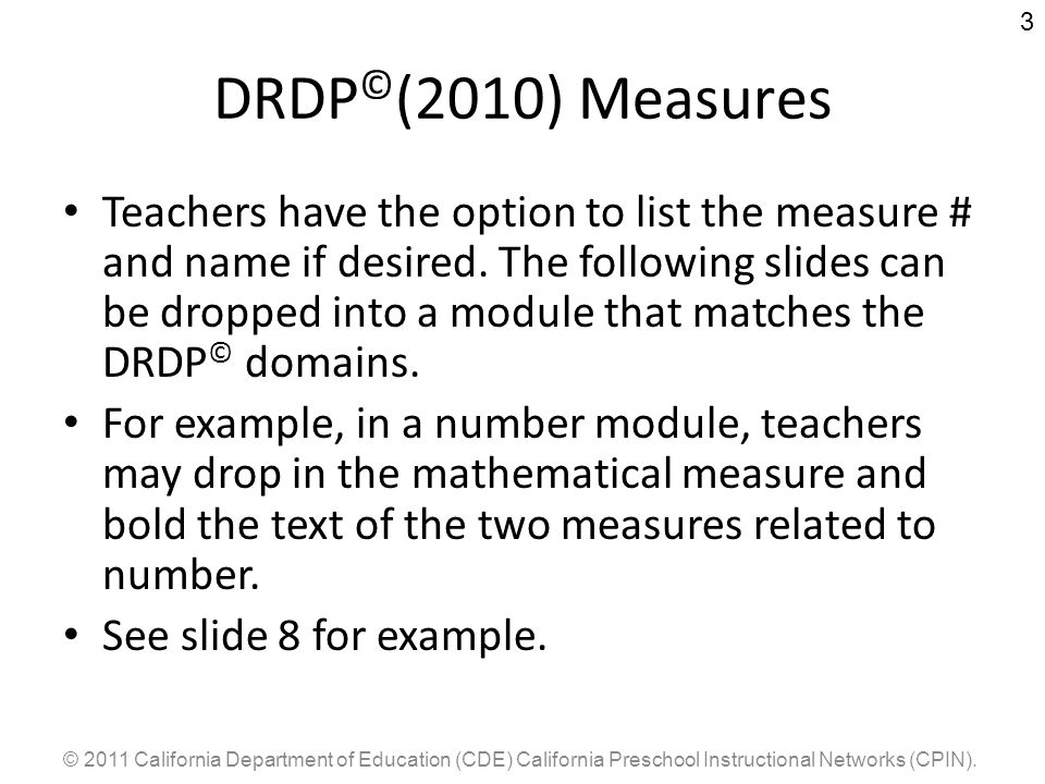 DRDP©(2010) Measures