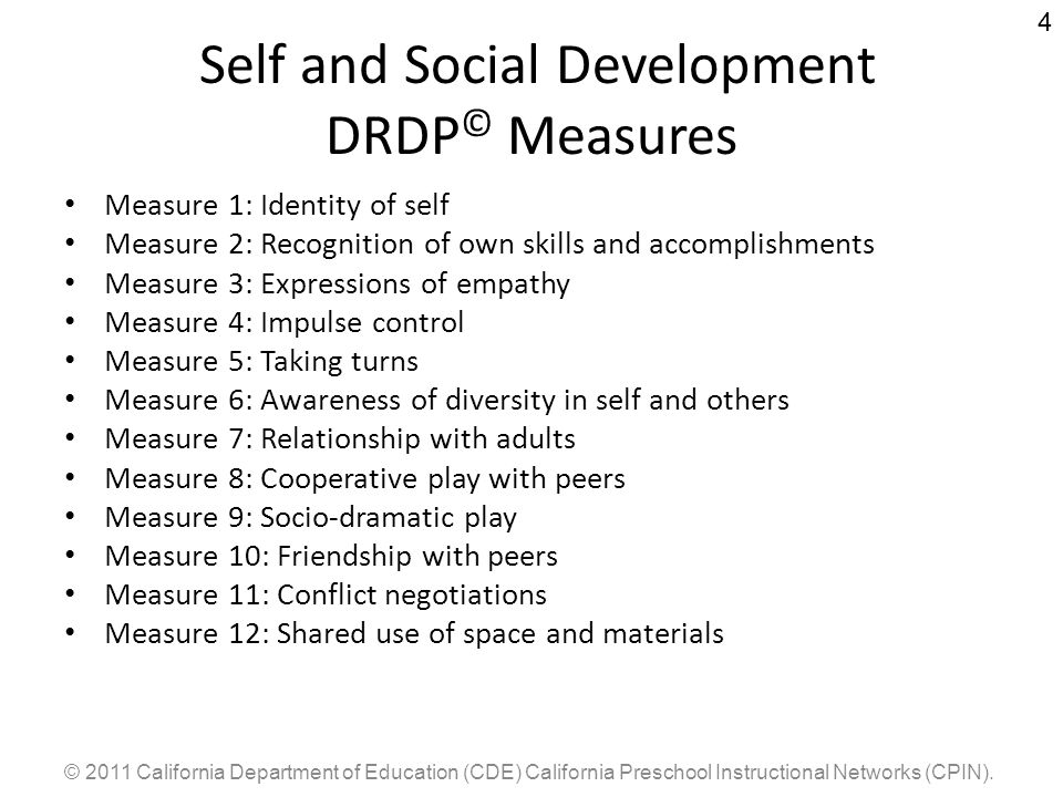 Self and Social Development DRDP© Measures