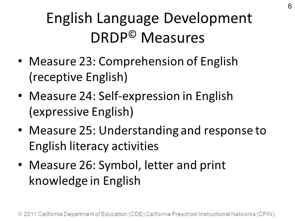 English Language Development DRDP© Measures