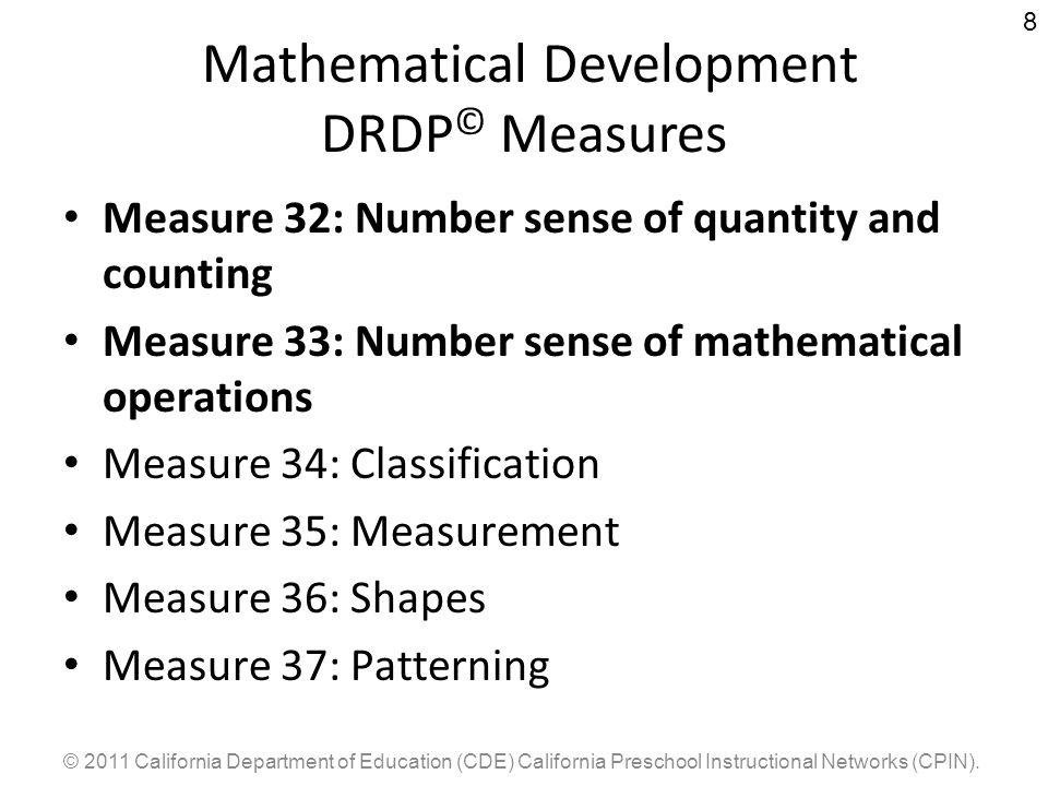 Mathematical Development DRDP© Measures